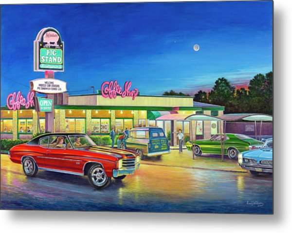 Muscle Car Cruise Night Metal Print