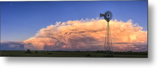 Kansas Storm And Windmill Metal Print