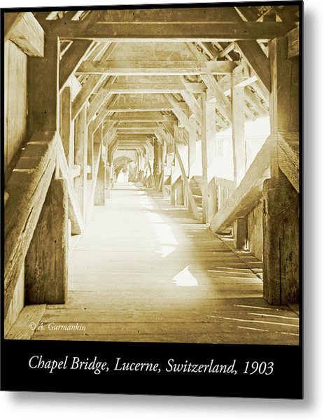 Kapell Bridge, Lucerne, Switzerland, 1903, Vintage, Photograph Metal Print