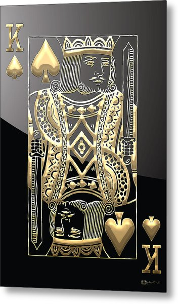King Of Spades In Gold On Black   Metal Print