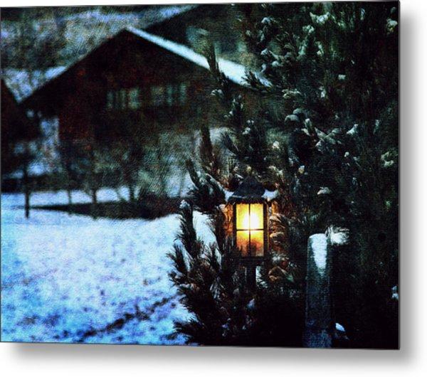 Lantern In The Woods Metal Print