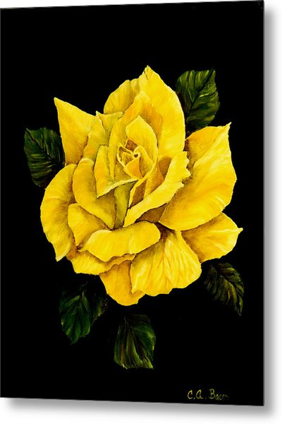Large Yellow Rose Metal Print