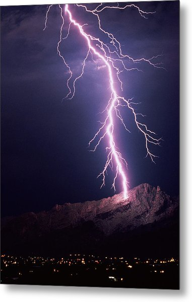 Lightning Over Tucson Metal Print by Keith Kent