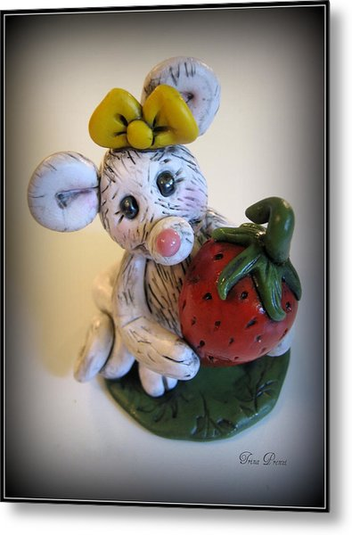 Little Mouse Big Strawberry Metal Print by Trina Prenzi
