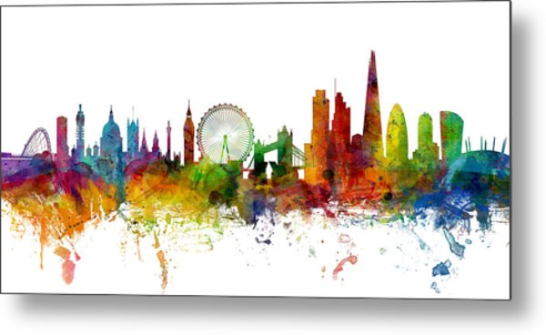 London England Skyline Panoramic Metal Print