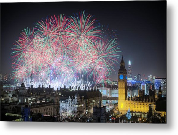 London New Year Fireworks Display Metal Print