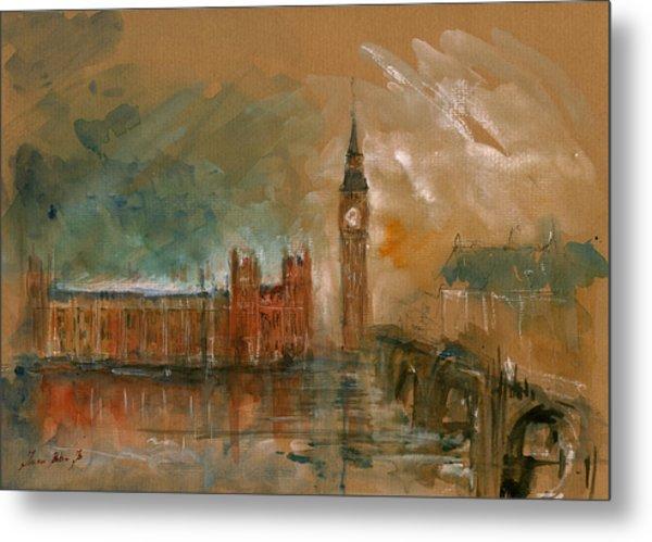 London Watercolor Painting Metal Print
