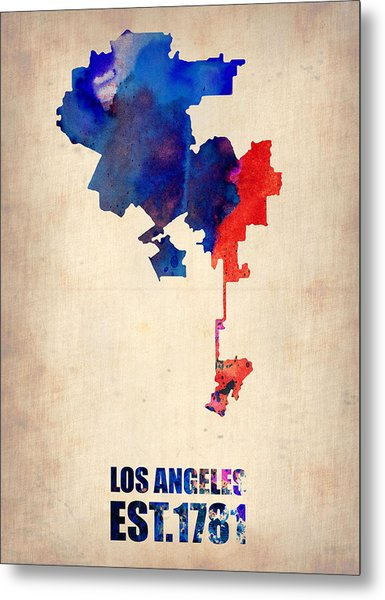 Los Angeles Watercolor Map 1 Metal Print