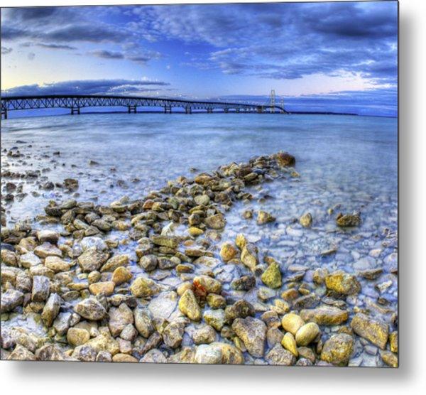 Mackinac Bridge From The Beach Metal Print