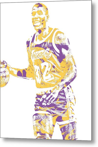 Magic Johnson Los Angeles Lakers Pixel Art 5 Metal Print
