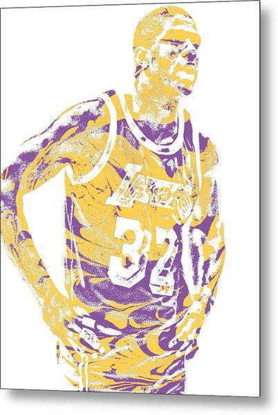 Magic Johnson Los Angeles Lakers Pixel Art 6 Metal Print