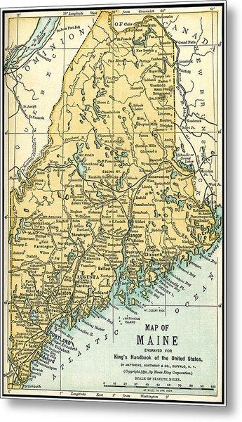 Maine Antique Map 1891 Metal Print