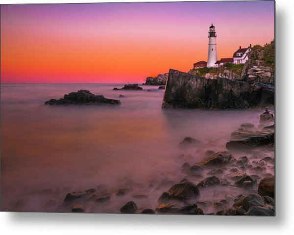 Metal Print featuring the photograph Maine Portland Headlight Lighthouse At Sunset by Ranjay Mitra
