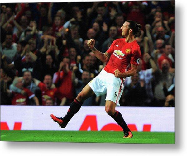 Manchester United's Zlatan Ibrahimovic Celebrates Metal Print