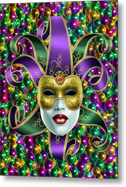 Mardi Gras Mask And Beads Metal Print