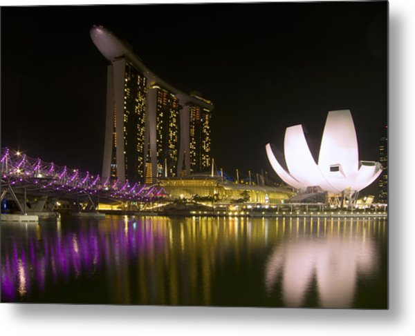 Marina Bay Sands Hotel And Artscience Museum In Singapore Metal Print