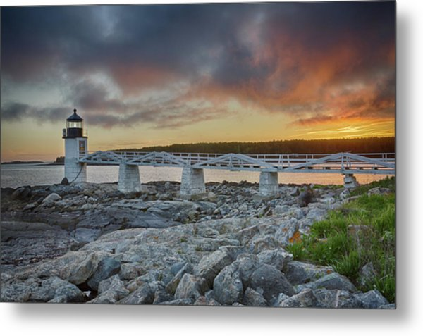 Marshall Point Lighthouse At Sunset, Maine, Usa Metal Print