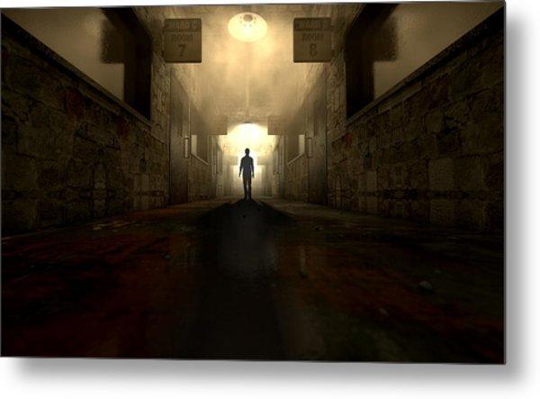 Mental Asylum With Ghostly Figure Metal Print