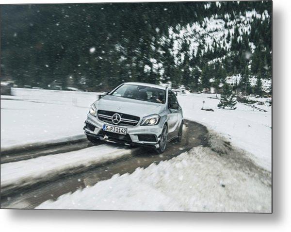 Mercedes Benz A45 Amg Snow Metal Print