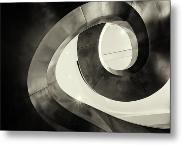 Abstract Metal Spiral Staircase Metal Print