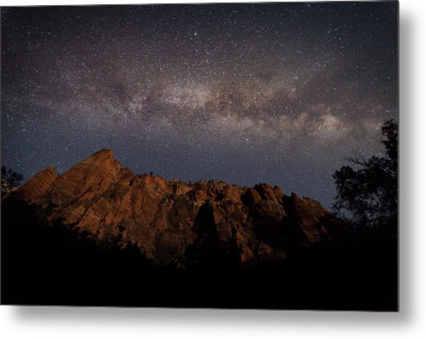 Milky Way Galaxy Over Zion Canyon Metal Print