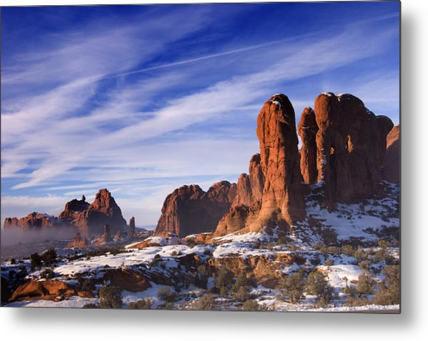Mist Rising In Arches National Park Metal Print by Douglas Pulsipher