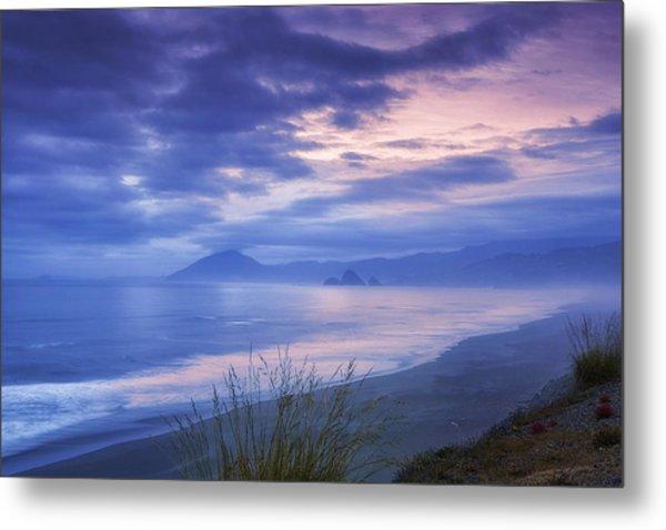 Misty Coastline Metal Print