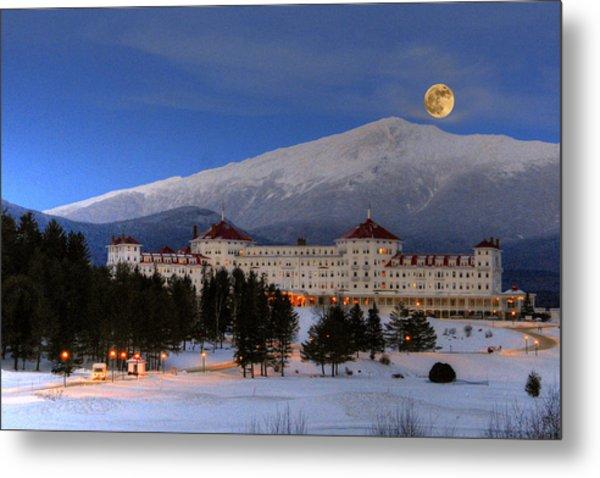Moonrise Over The Mount Washington Hotel Metal Print