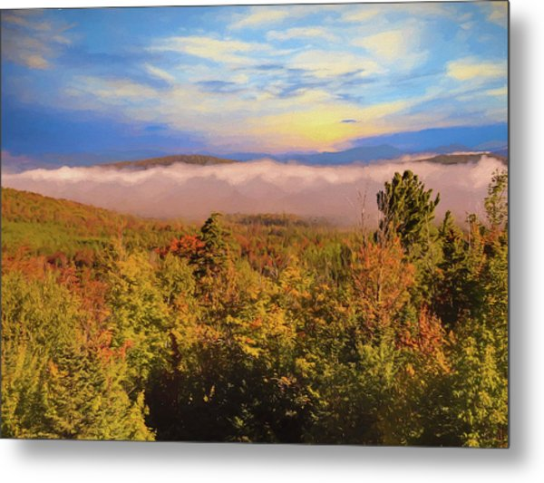 Morning Autumn Landscape Northern New Hampshire Metal Print