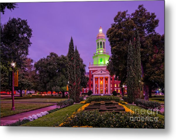 Morning Twilight Shot Of Pat Neff Hall From Founders Mall At Baylor University - Waco Central Texas Metal Print