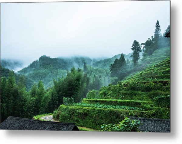 Mountains Scenery In The Mist Metal Print
