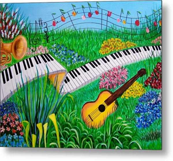 Musical Garden Metal Print by Kathern Welsh