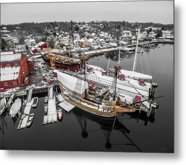 Mystic Seaport In Winter Metal Print