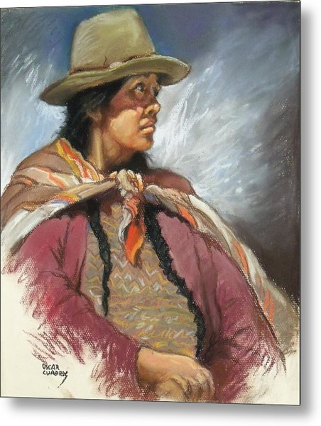 Native Peruvian Woman Metal Print by Oscar Cuadros