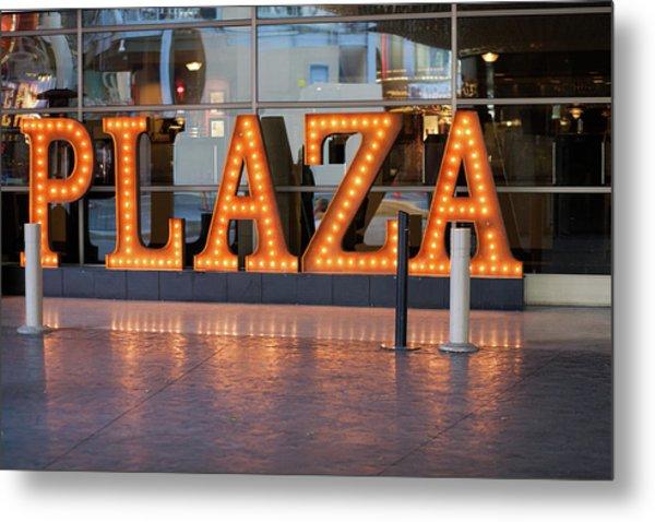 Neon Plaza Metal Print