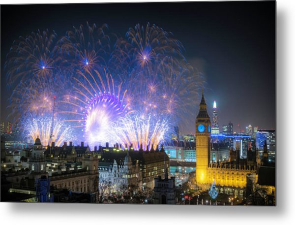 New Year Fireworks Metal Print