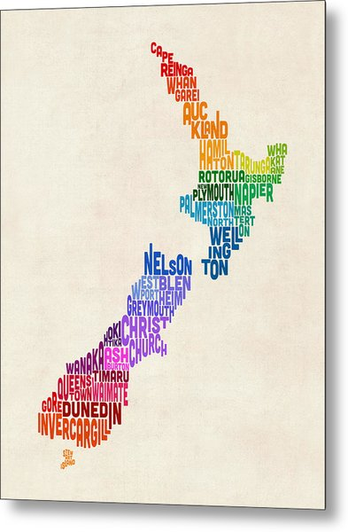 New Zealand Typography Text Map Metal Print