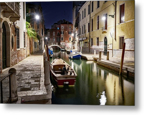 Night Canal Metal Print