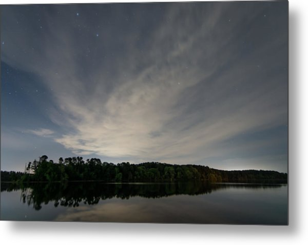 Night Sky Over The Lake Metal Print