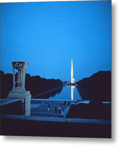 Night View Of The Washington Monument Across The National Mall Metal Print