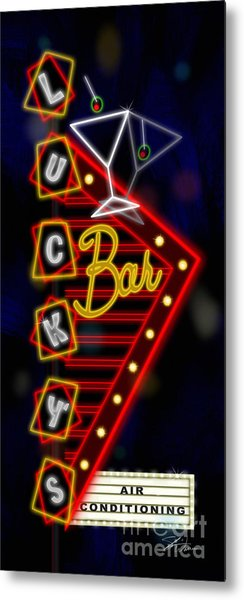 Nightclub Sign Luckys Bar Metal Print