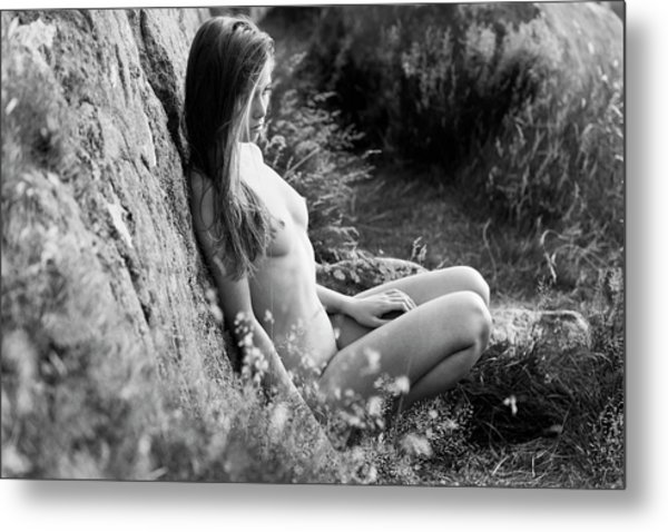 Nude Girl In The Nature Metal Print