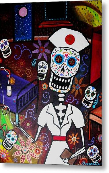 Nurse Dia De Los Muertos  Metal Print