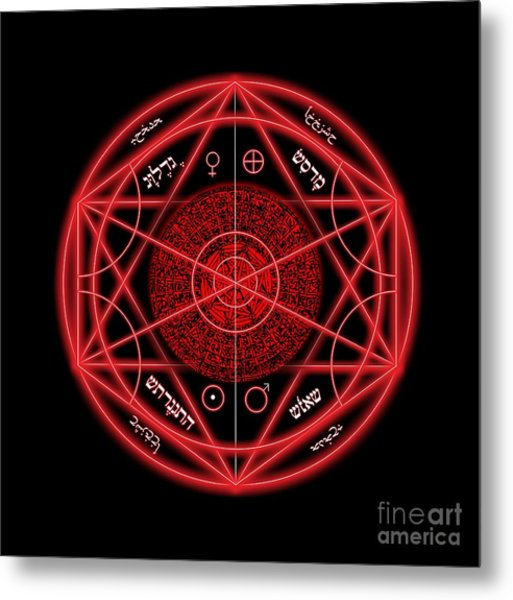 Occult Magick Symbol On Red By Pierre Blanchard Metal Print