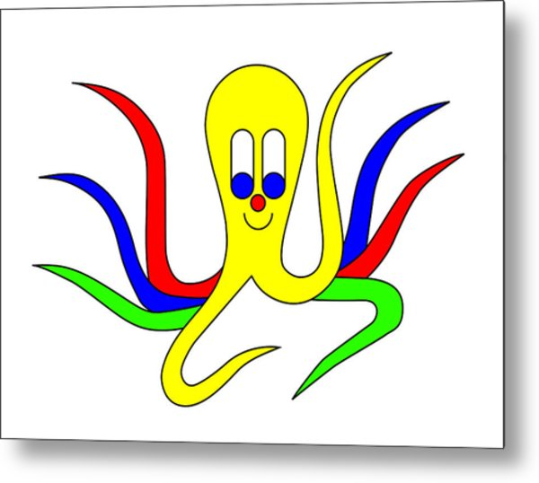 Octo-pus The Cuttlefish Metal Print by Asbjorn Lonvig