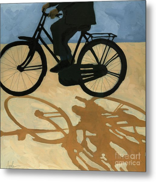 Off To Work - Painting Metal Print by Linda Apple