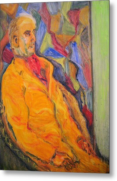 Oil Study - Man Sitting Metal Print by Lessandra Grimley