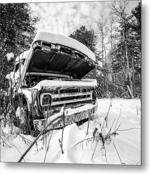 Old Abandoned Pickup Truck In The Snow Metal Print