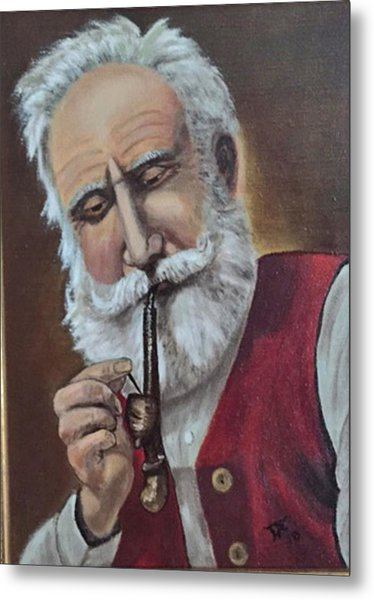 Old German With Pipe Metal Print
