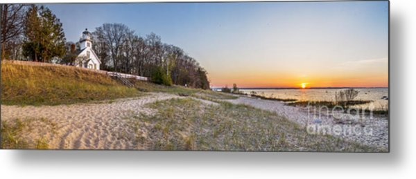 Old Mission Peninsula Lighthouse And Shore Metal Print